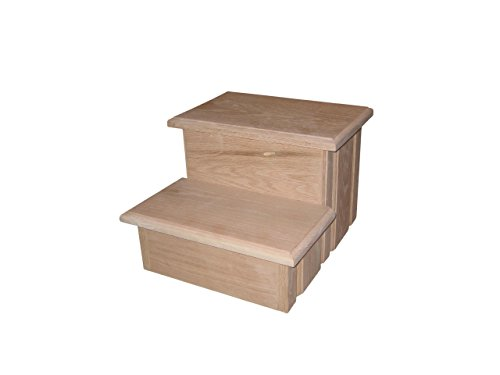 Unfinished Solid Oak Step Stool With Solid Tread 11 ½