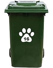 Kliko Sticker/Vuilnisbak Sticker - Hondenpoot - Nummer 16-18x16,5