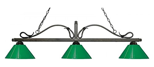 (114-3GB-PGR Golden Bronze Melrose 3 Light Island/Billiard Chandelier with Green Plastic)