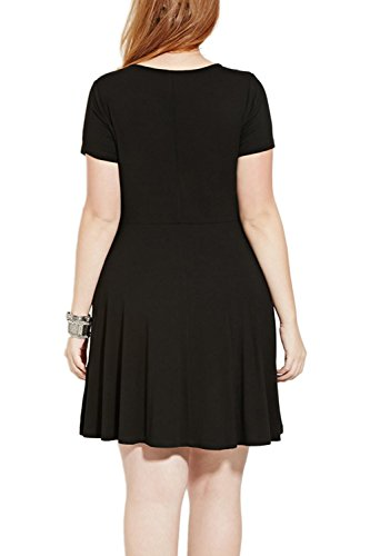 Vestido de manga corta de las mujeres con pretina A línea Mini vestido