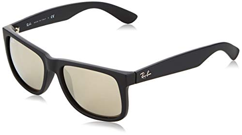 - Ray-Ban RB4165 Justin Rectangular Sunglasses, Black Rubber/Gold Mirror, 55 mm