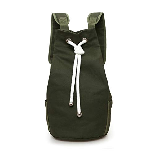 MIOIM Men's Drawstring Canvas Backpack Bucket Portable Bag Rucksack Shoulder Bags Basketball ()