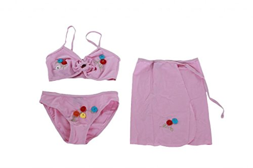 Yongqian - 3 teiliges Mädchen Bikini mit Blumen Stickerei - Badeslip, Halter Oberteil und Strandrock - Rosa - Gr. 146-152 (12 Jahre)