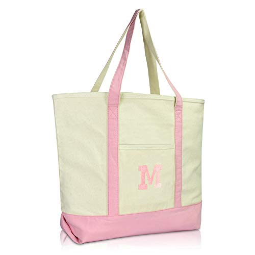 DALIX Initial Tote Bag Personalized Monogram Pink Zippered Top Bold Letter - M