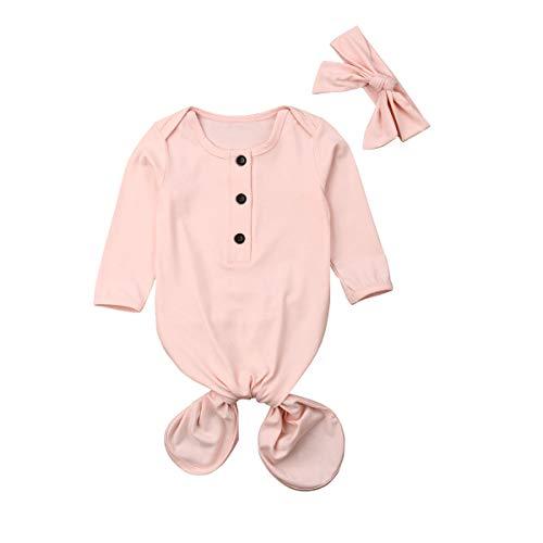 Newborn Sleeper Gowns Baby Cotton Sleepbag Sleepwear Infant Wearable Blanket Pajamas For Baby Girls Boys (Light pink, 0-6 Months)