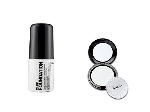 Stargazer Halloween Make-Up Set Liquid Foundation & White Pressed White Powder ()