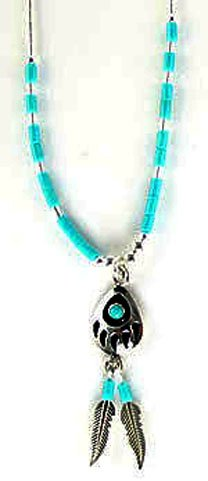 Sterling-silver Southwest Bear Paw and Man made Synthetic turquoise pendant-necklaces W/Feather