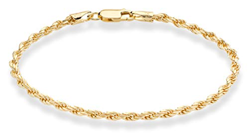MiaBella 18K Gold Over Sterling Silver Italian 3mm Solid Diamond-Cut Braided Rope Chain Necklace Bracelet for Men Women 925 Italy 7 to 30 Inch -