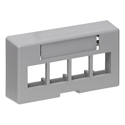 - Leviton 49910-EG4 4-Port QuickPort Extended Depth Modular Furniture Faceplate, Grey