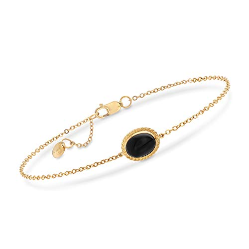 Ross-Simons 14kt Yellow Gold and Black Onyx Bracelet