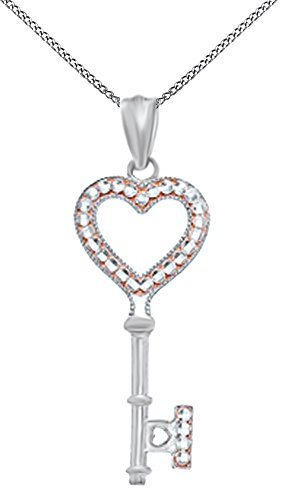 White Gold Diamond Heart Key - Jewel Zone US White Natural Diamond Accent Heart Key Pendant Necklace in 14K Solid White Gold