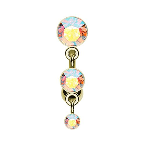 14 GA Golden Triple Crystalline Reverse Belly Button Ring Davana Enterprises (Sold Individually Gold Plated)