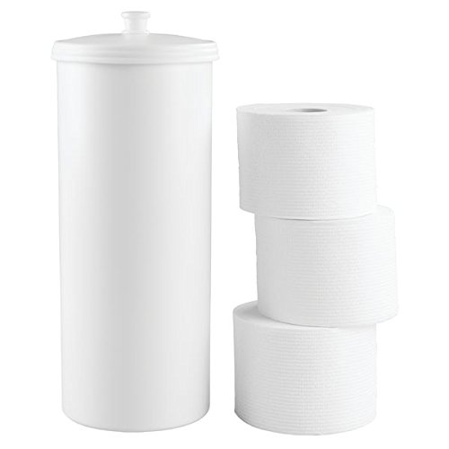 mDesign Free Standing Toilet Paper Roll Holder for Bathroom Storage - White