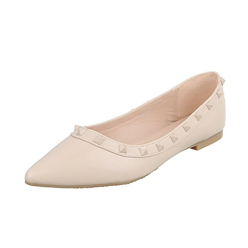 Ital-Design Klassische Ballerinas Damenschuhe Blockabsatz Beige XY02