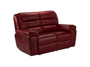 Oak Furniture Land Devon Manual Reclining Leather Sofa Suite 2 Seater Sofa  Recliners In Burgundy