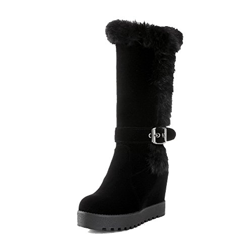 Allhqfashion Women's High-Heels Frosted Mid-top Solid Pull-on Boots Black WLnYfqop