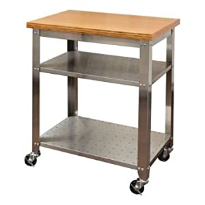 Seville Classics Stainless Steel Spacious Movable Kitchen Prep Table With  Bamboo Top And 2 Stainless Steel Shelves