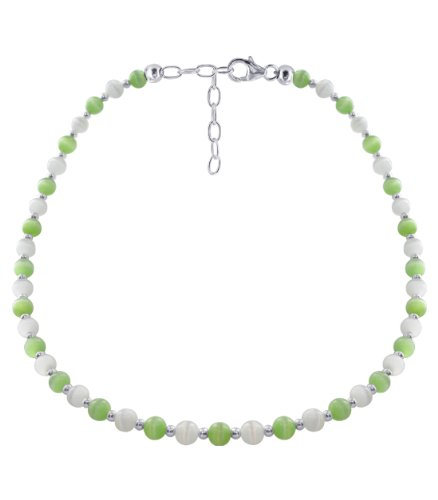 Cat Collars Swarovski (Gem Avenue Sterling Silver Green and White Cats Eye Necklace 16 inch Made with Swarovski Elements)