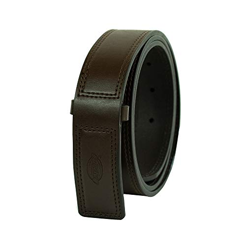 Dickies Men's Leather Work Belt - Tactical Industrial Mechanic Heavy Duty Strength Strap Covers No Scratch Buckle,Brown,Medium (Scratch Proof Belt)