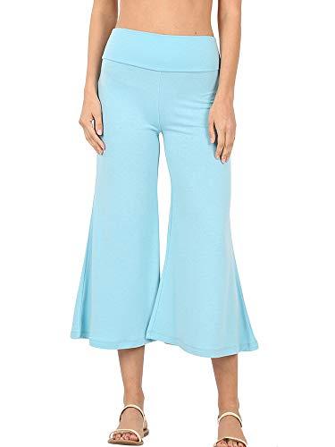 The Lovely Women's Knit Capri Culottes Gaucho Wide Leg Pants(Milky Blue, XL)