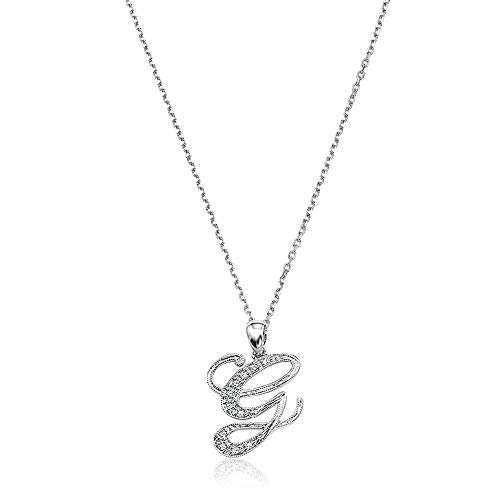 14K Gold and Diamond Initial letter G Pendant charm (0.05TDW, G-H Color, I1 Clarity) 15MM with 18
