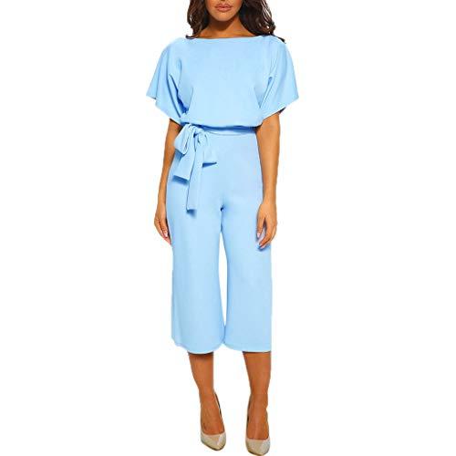 - Cenglings Jumpsuit,Women Short Sleeve Playsuit Clubwear Loose Waisted Jumpsuit with Belt Wide Leg Romper Office Playsuit Light Blue