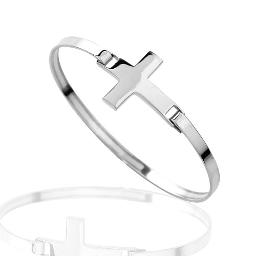 Crucifix Heart Bracelet - 925 Sterling Silver Wide Flat Sideways Flat Shiny Cross Christian Religious Wrap Bangle Bracelet