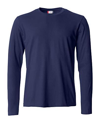 L Clique Uomo t shirt Maniche Blu Cotone Lunghe Basic Manica Maglia Maglietta T s Lunga Tvw5q0S