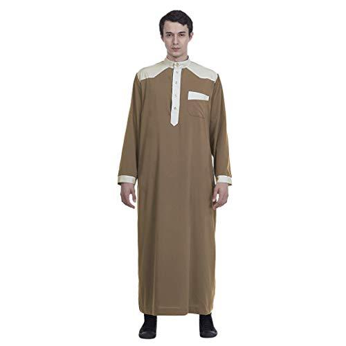 Leisuraly 2019 Muslim Islamic Clothing for Men Arabia Plus Size Abaya Dubai Kaftan Jubba Robe Brown ()