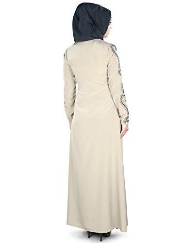 MyBatua musulman brodé chaud gris occasion & formal wear ladies abaya AY-376