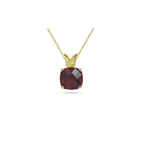 - 0.70-0.88 Cts of 5 mm AAA Cushion Garnet Scroll Solitaire Pendant in 14K Yellow Gold