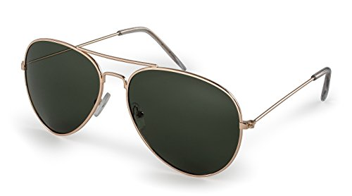 Stylle Aviator Sunglasses, Gold Frame With G15 Lenses, 100% UV - Mens Aviator Sunglasses Gold