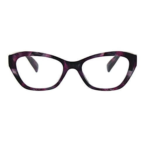 Womens Luxury Fashion Narrow Cat Eye Style Plastic Frame Reading Glasses Purple Marble +2.5