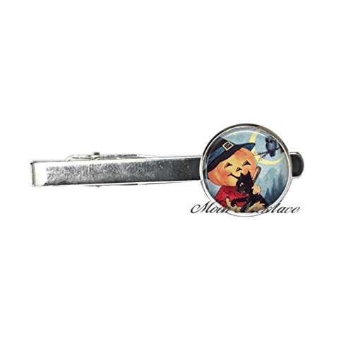 Pumpkin Love Tie Pin, Halloween jewelry, Halloween Tie Clip charm, Halloween Tie Pin, pumpkin Tie Pin Halloween black cat,Fashion jewelry,for her birthday,photo Jewelry Glass Tie Pin Je (A) -
