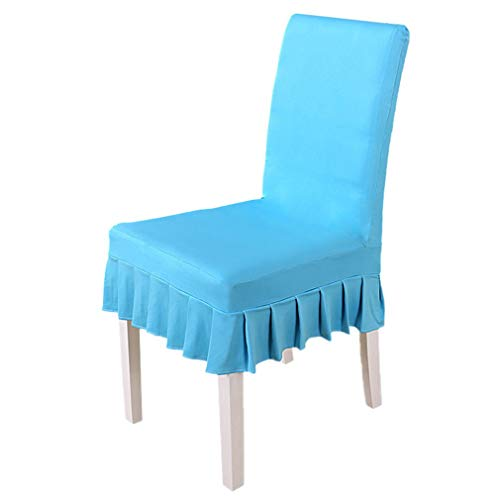 Xiang Ru Solid Colors Universal Slipcovers Dining Chair Cover for Wedding Party Decoration Lake Blue