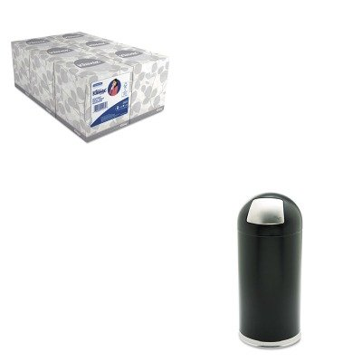 KITKIM21271SAF9636BL - Value Kit - Safco Dome Receptacle w/Spring-Loaded Door (SAF9636BL) and KIMBERLY CLARK KLEENEX White Facial Tissue (KIM21271)
