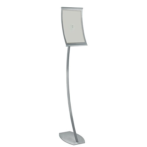 New Retail Curved Metal Floor Sign Holder 8.5''W x 14''H