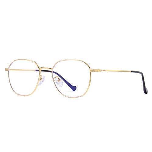 JHHXW Anti-Blu-ray Glasses, UV Protection Computer Glasses Vintage Literary Round Flat Mirror Fashion Thin Metal Men and Women Glasses Frame,Gold