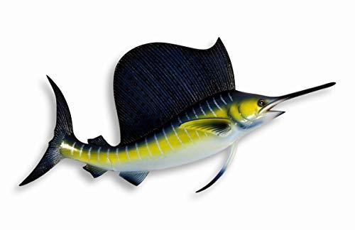 (Hand painted Blue Stripe Sailfish Sail Fish Wall Mount Decor Plaque 8