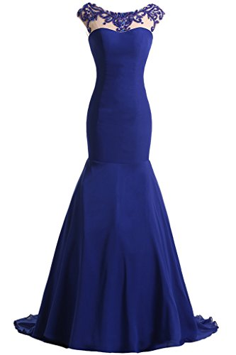 Damen Rueckenfrei Royalblau Mermaid Ivydressing Abendkleid Chiffon Festkleid amp;Tuell Hochwertig Ballkleid Lang Ballkleider SqxA6xnB