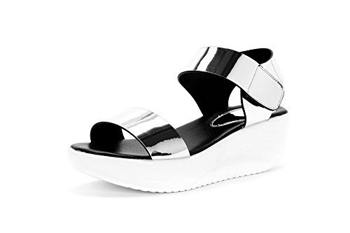 Hook Open Heels Sandals loop Microfiber Solid and Women's Kitten Silver Toe AgooLar aWpfqZT