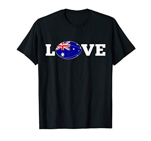 Australia LOVE Rugby Ball Flag Fan Support Gift T-Shirt