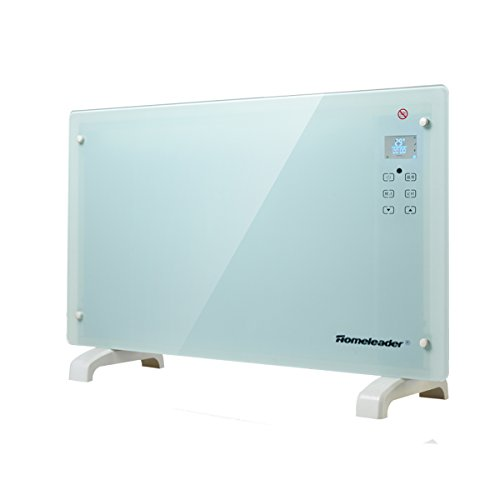 Homeleader Electric Panel Heater GH-15F, Crystal Glass Flat Convector Heater with LED Screen and Remote Control, 1500W, White