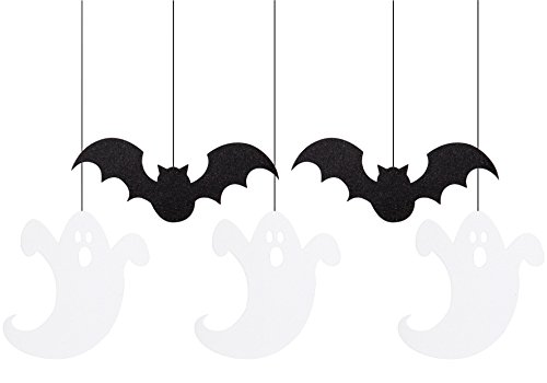Creative Converting 5 Count Ghosts and Bats Hanging Glitter Cutouts, Black/White ()