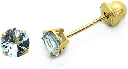 Pequeños tesoros 14ct de oro amarillo redondos 4 mm piedra CZ pendientes del perno prisionero para niños y niños (marzo, aguamarina)