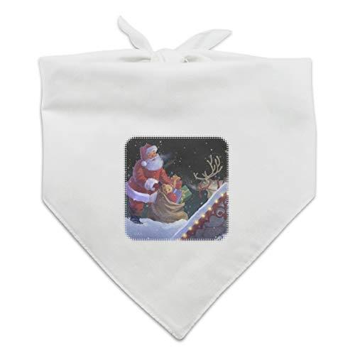 GRAPHICS & MORE Christmas Holiday Santa Rooftop Magic Dog Pet Bandana - White