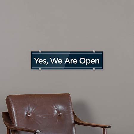 24x6 Yes We are Open 5-Pack Basic Navy Premium Acrylic Sign CGSignLab