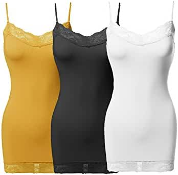 Awesome21 Women's Solid Soft Stretch Spaghetti Strap Lace Trim Tank Top