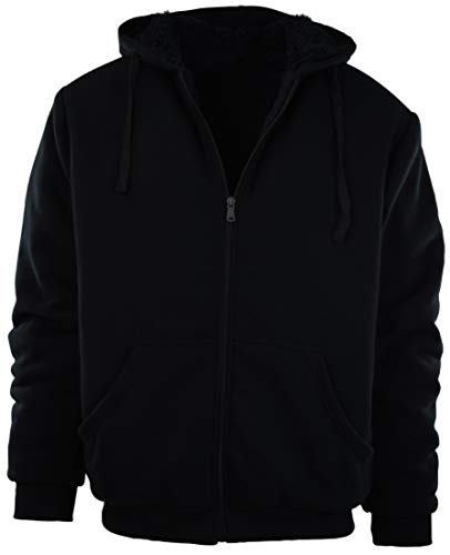 Mens Full Zipper Fleece Basic Hoodie with Lining to Choose from (S, ()