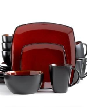 Signature Living Dinnerware, Barcelona Red 16 Piece Set - Service for 4